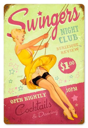 Retro Swingers Club  - Pin-Up Girl Metal Sign 18 x 12 Inches