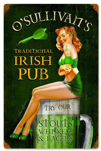 Vintage Irish Pub Metal Sign 12 x 18 Inches