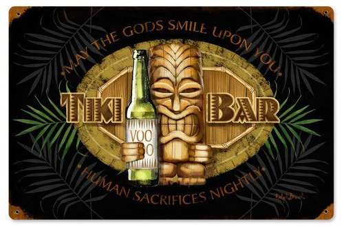 Tiki Bar Metal Sign 18 x 12 Inches