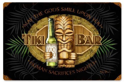 Tiki Bar Metal Sign 18 x 12 Inches