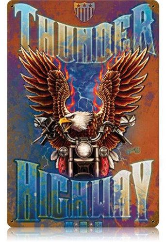 Vintage Thunder Highway Rustic Metal Sign   12 x 18 Inches