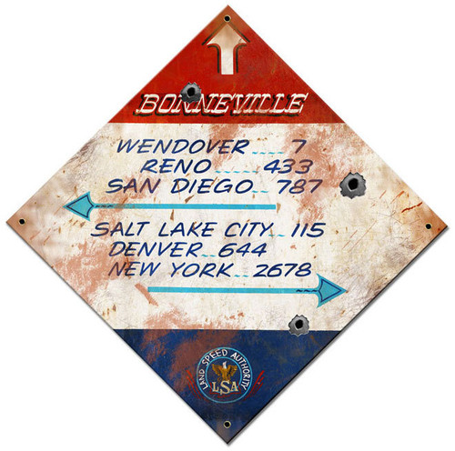 Bonneville Distance  Custom Shape Metal Sign 17 x 17 Inches