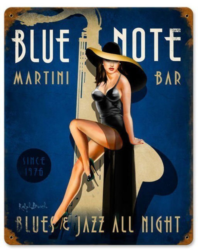 Blue Note Jazz Club Vintage Metal Sign 12 x 15 Inches