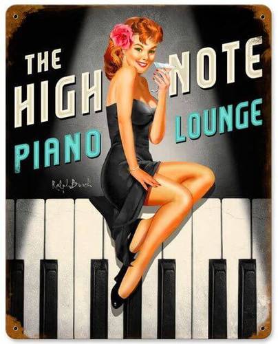 High Note Piano Lounge Vintage Metal Sign 12 x 15 Inches