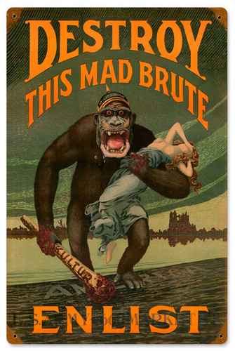 Destroy Mad Brute Vintage Metal Sign 12 x 18 Inches