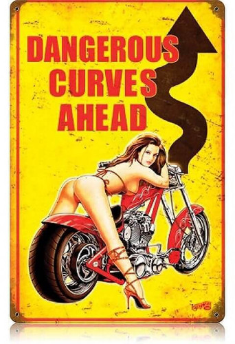 Vintage Dangerous Curves  - Pin-Up Girl Metal Sign   12 x 18 Inches