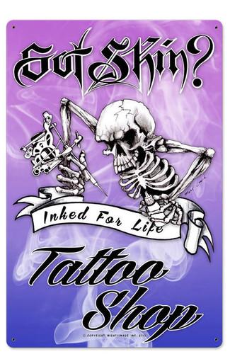 Skeleton Tattoo Vintage Metal Sign 16 x 24 Inches