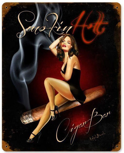 Cigar Bar Vintage Metal Sign 12 x 15 Inches