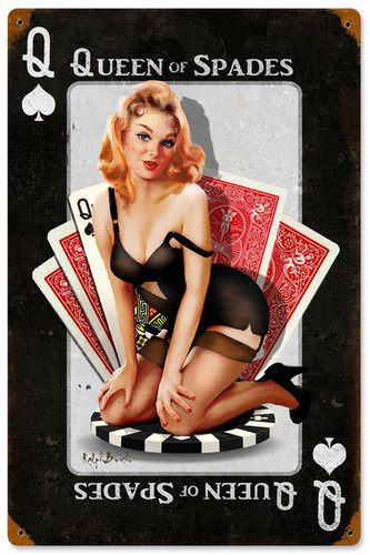 Queen of Spades Vintage Metal Sign 12 x 18 Inches