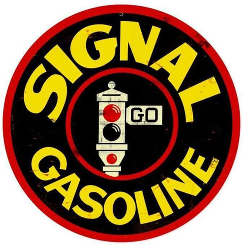 Signal Gas Round Metal Sign 14 x 14 Inches