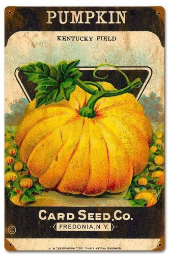 Halloween Pumpkin Card Seed Vintage Metal Sign 12 x 18 Inches