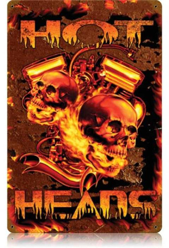 Vintage Hot Heads Metal Sign   12 x 18 Inches