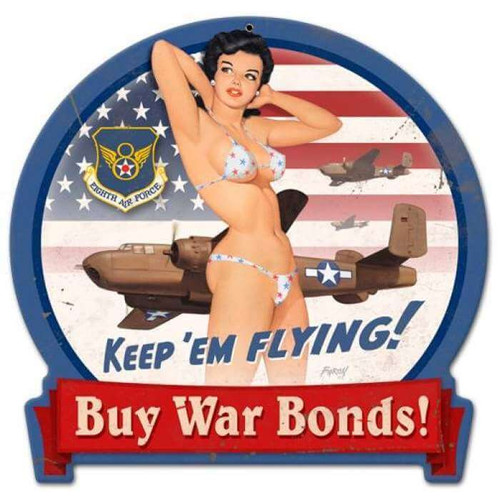 Retro B-25 War Bonds Round Banner  - Pin-Up Girl Metal Sign 16 x 15 Inches
