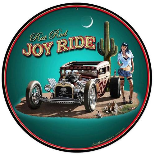 Rat Rod Joy Ride Round Metal Sign 14 x 14 Inches