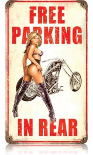 Vintage Free Parking  - Pin-Up Girl Metal Sign   8 x 14 Inches