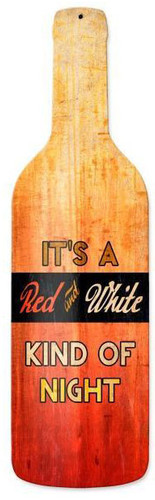 Red White Night Custom Shape Metal Sign 8 x 26 Inches