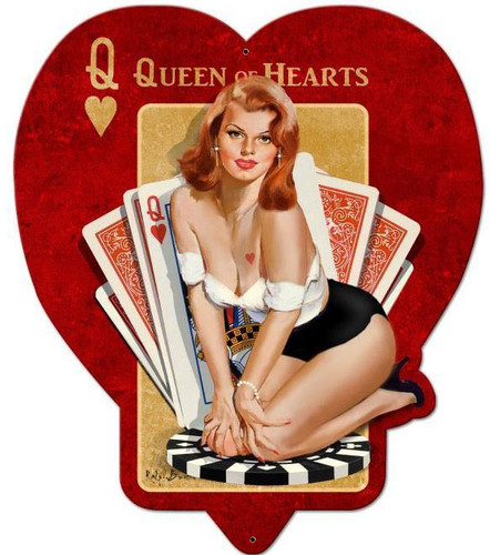 Queen of Hearts Custom Shape Metal Sign 19 x 24 Inches