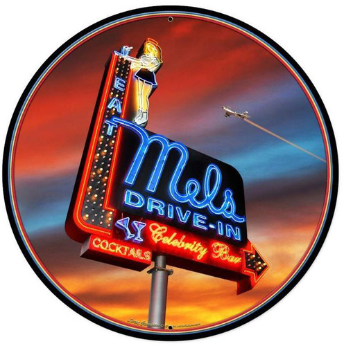 Mels Sunset Round Metal Sign 28 x 28 Inches