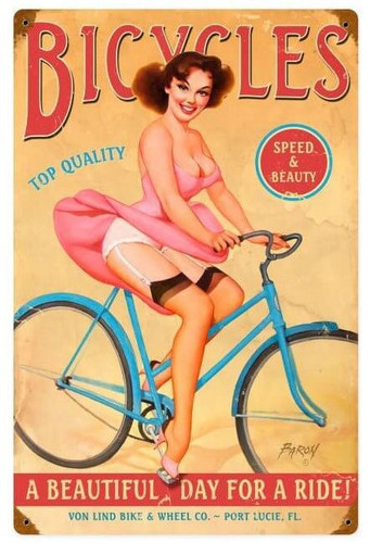 Bicycles Pinup Metal Sign 12 x 18 Inches