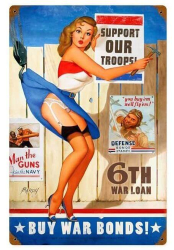 Buy War Bonds Pin Up Metal Sign   12 x 18 Inches
