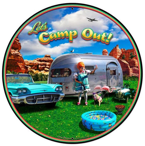 Camp Out XL Round Metal Sign 28 x 28 Inches
