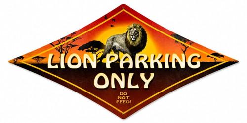 Vintage Lion Parking Diamond Metal Sign 14 x 24 Inches
