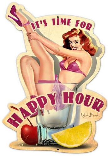 Retro Happy Hour Custom Shape Metal Sign 16 x 24 Inches
