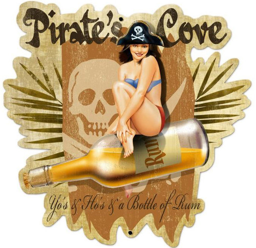 Retro Pirates Cove Custom Shape Metal 23 x 24 Inches
