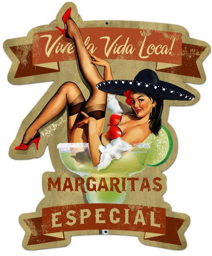 Retro Margarita Especial Custom Shape Metal 20 x 24 Inches