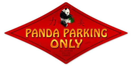 Vintage Panda Parking Diamond Metal Sign 14 x 24 Inches