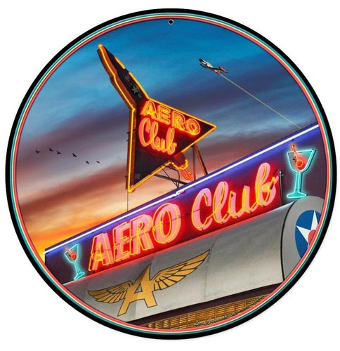 Aero Club Round Round Metal Sign 14 x 14 Inches