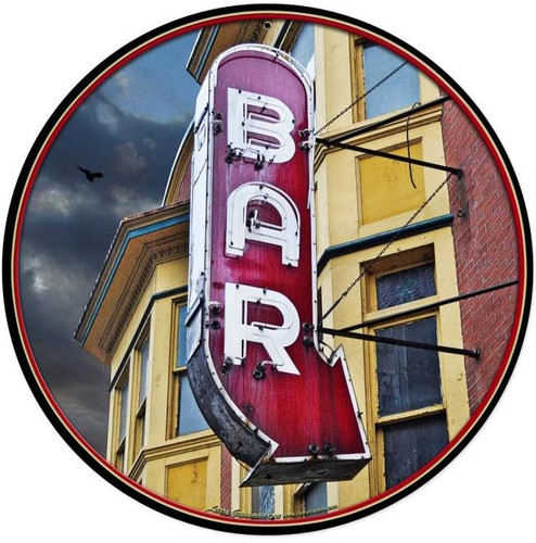 Bar Round Round Metal Sign 14 x 14 Inches