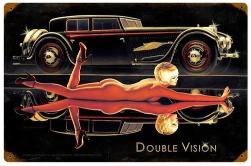 Double Vision Pin Up Girl Metal Sign 12 x 18 Inches