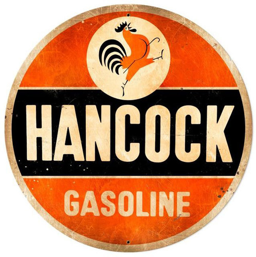 Hancock Old School Gasoline Round Metal Sign 42 x 42 Inches