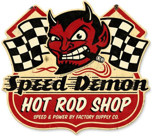 Speed Demon Hot Rod Shop Metal Sign 15 x 13 Inches