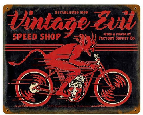 Vintage Evil Speed Shop Metal Sign 15 x 12 Inches