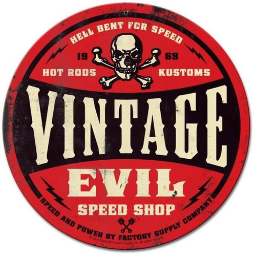 Vintage Evil Speed Shop Round Red Metal Sign 14 x 14 Inches
