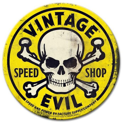 Vintage Evil Speed Shop Round Yellow Metal Sign 14 x 14 Inches