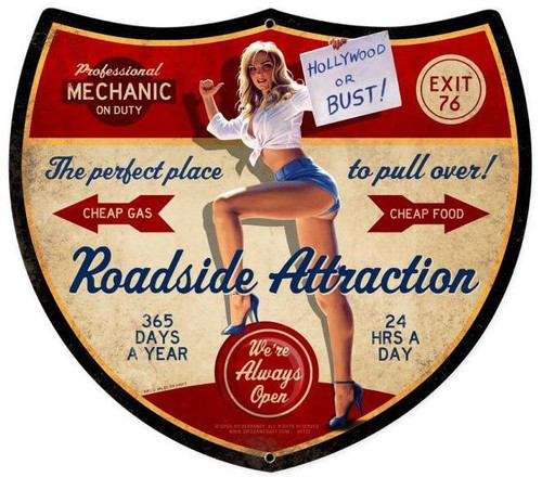 Roadside Attraction Pinup Metal Sign 17 x 15  Inches