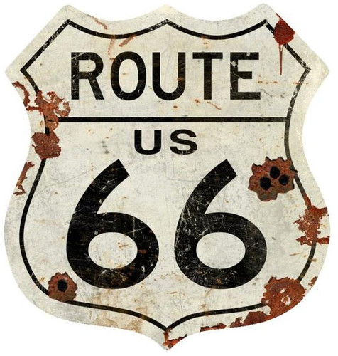 Metal Sign - Route US 66 40 x 42  Inches