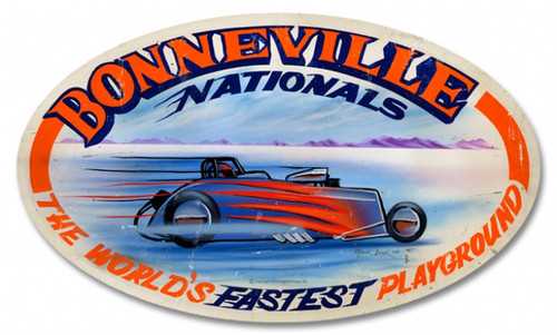 Retro Bonneville Nationals Oval Metal Sign 24 x 14 Inches