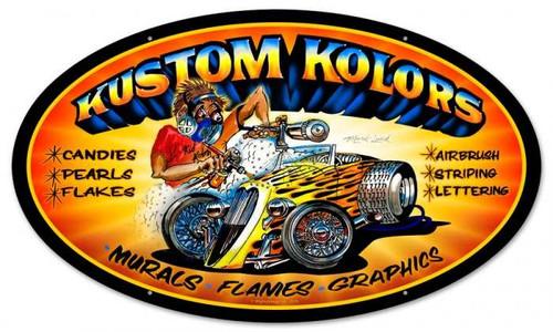 Retro Kustom Kolors Oval Metal Sign 24 x 14 Inches