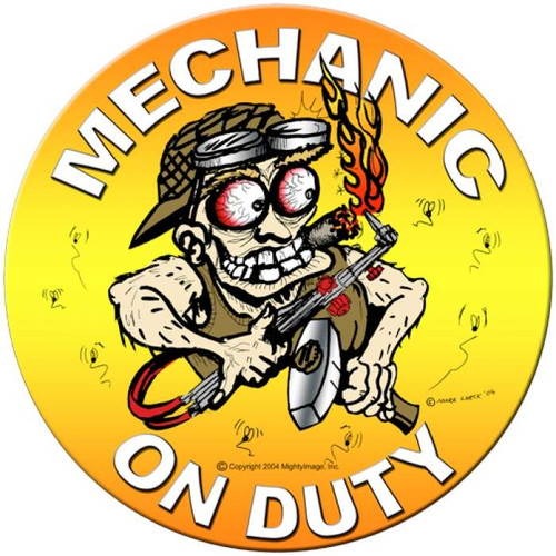 Vintage Mechanic on Duty Round Metal Sign 14 x 14 Inches
