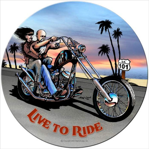 Vintage Live to Ride Round Metal Sign 14 x 14 Inches