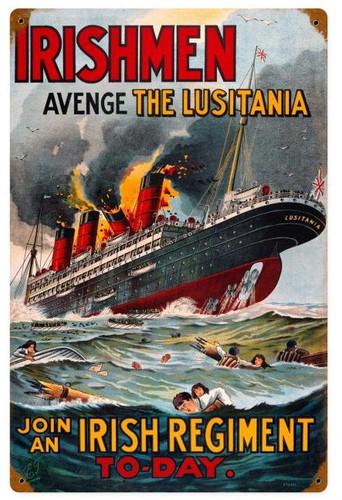 Lusitania Vintage Metal Sign 12 x 18 Inches