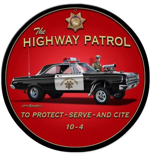 Highway Patrol Round Metal Sign 14 x 14 Inches