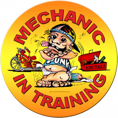 Vintage Mechanic in Training Round Metal Sign 14 x 14 Inches