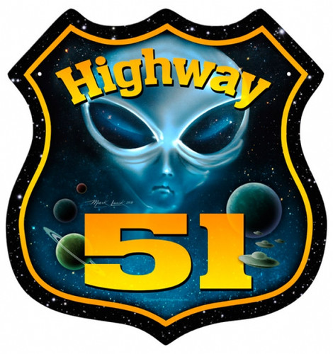Retro Highway 51 Shield Metal Sign 15 x 15 Inches