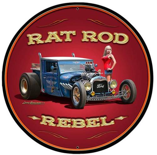 Rat Rod Rebel Round Metal Sign 28 x 28 Inches