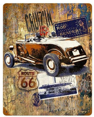 Cruzin Route 66  Metal Sign 12 x 15 Inches